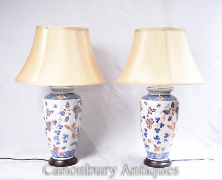 Pair Chinese Porcelain Table Lamps - Urn Lights