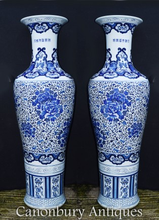 Pair Chinese Porcelain Temple Urns - Blue and White Ming Vases