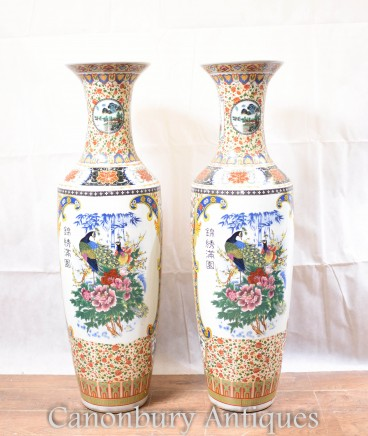 Pair Chinese Porcelain Urns - Big Famille Jaune Bird Vases