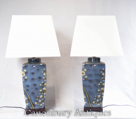 Pair Chinese Porcelain Urns Table Lamps Lighting