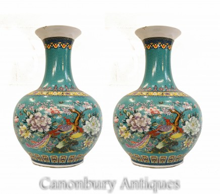 Pair Chinese Porcelain Vases - Qianlong Shangping Form