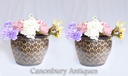 Pair Chinese Pottery Planters - Garden Urns