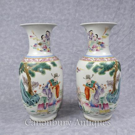 Pair Chinese Qianlong Porcelain Vases Urns Hand Painted