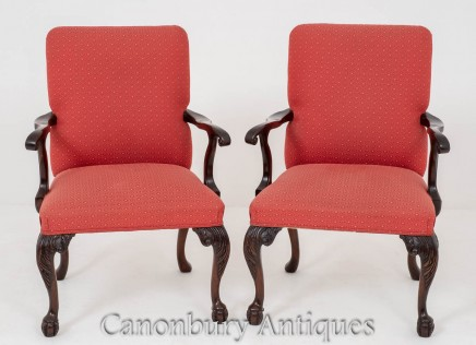 Pair Chippendale Elbow Chairs - Mahogany Arm Chair