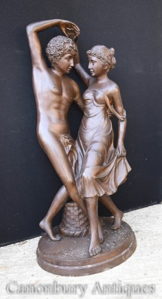 Pair Classical Bronze Lovers Statue - Italian Art Garden Casting