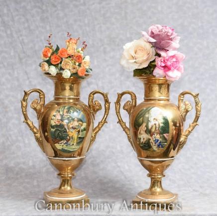 French Sevres Porcelain Vases Champleve Urns