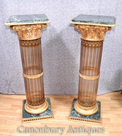 Pair Cut Glass Corinthiam Columm Pedesal Stand Tables French Empire Table