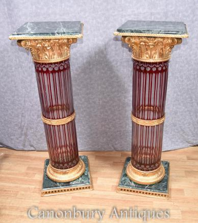 Pair Cut Glass French Pedestal Stand Tables Empire Corinthian Columns