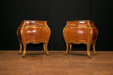 Pair Empire Bombe Cabinets - French Nighstands Commodes