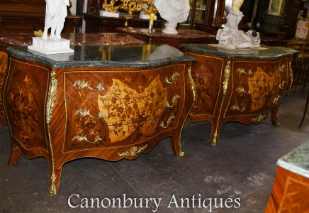 Pair Empire Chest of Drawers - Empire Bombe Commodes Inlay