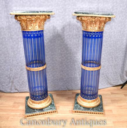 Pair Empire Cut Glass Corinthian Column Pedestal Stands Tables