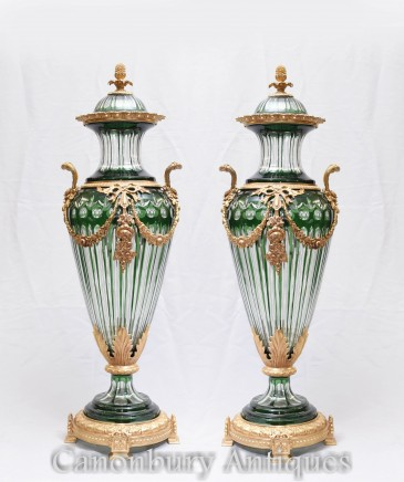 Pair Empire Glass Urns Vases - French Amphora Gilded