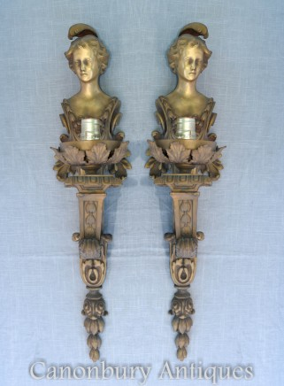 Pair Empire Maiden Sconces - Ormolu Wall Lights