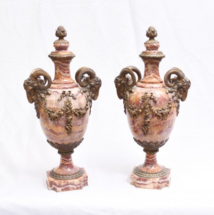 Pair Empire Marble Urns - French Antique Rams Head 1860