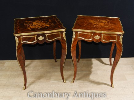 Pair Empire Side Tables - French Cocktail Tables Marquetry Inlay