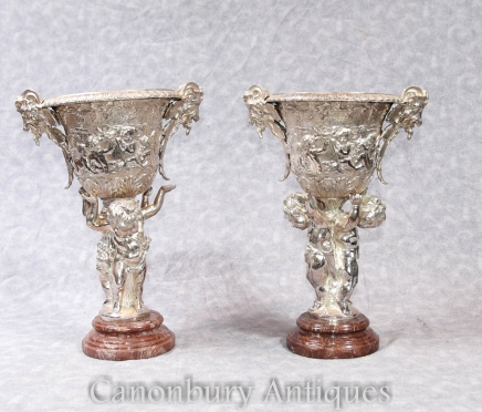 Pair Empire Silver Plate Cherub Dishes - Tureens Bronze Statue