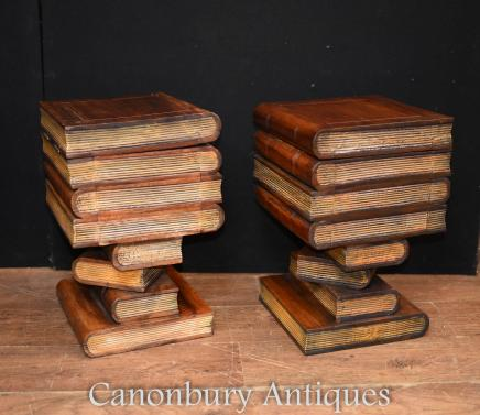 Pair English Book Side Tables Cabinets - Library Interiors