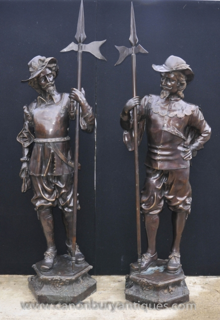 Pair Bronze Lifesize Cavalier Statues -  English Prince Charles I Soldiers