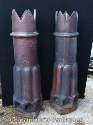Pair English Chimney Pots - Planters Architectural Salvage