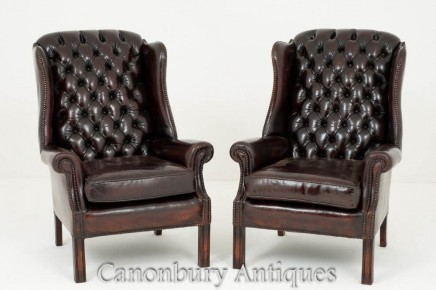 Pair English Wing Chairs Leather Deep Button Arm Chair
