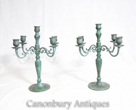 Pair French  Bronze Candelabras Verdis Gris