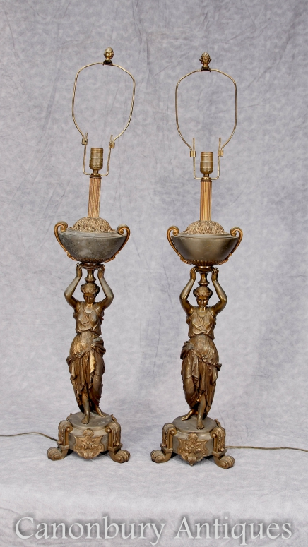 Pair French Antique Table Lights - Bronze Female Figurine Lamps Lights