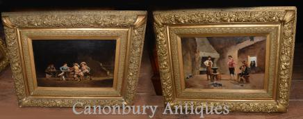 Pair French Antique Oil Paintings Cavalier Tavern Signed J De Ninville