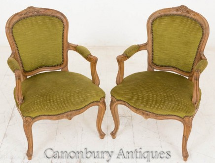 Pair French Arm Chairs Walnut Fauteuils