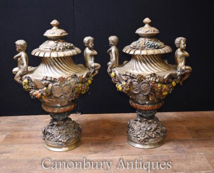 Pair French Art Nouveau Antique Bronze Garden Urns Vases Cherub