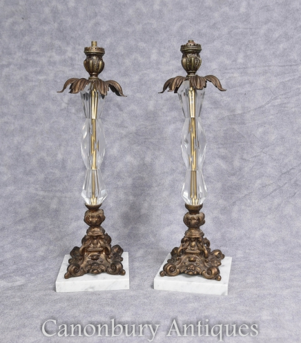 Pair French Art Nouveau Table Lamps - Ormolu and Crystal Glass  Lights