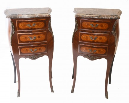 Pair French Bedside Chests Antique Empire Nightstands