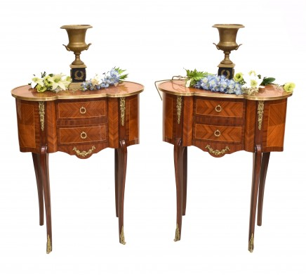Pair French Bedside Chests Kidney Bean Nightstands Empire Furniture