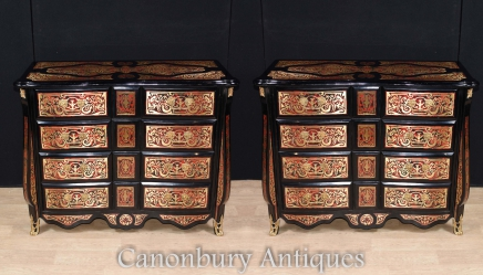 Pair French Boulle Commodes  - Inlay Bombe Chests Drawers