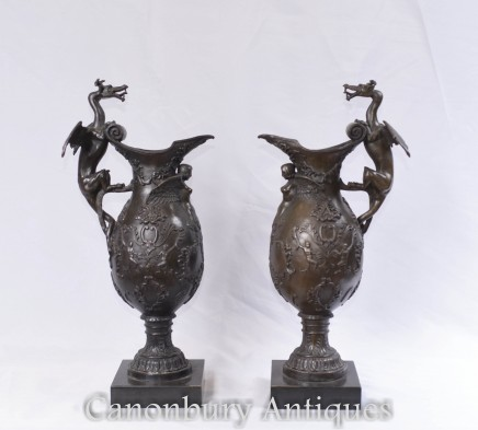 Pair French Bronze Jug Urns - Dragon Vases