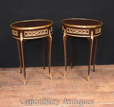 Pair French Cocktail Side Tables - Oval Topped Inlay