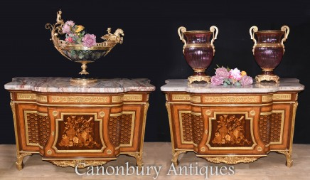 Pair French Commodes Linke Louis XVI Chest Drawers Cabinet