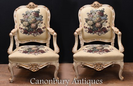 Pair French Empire Arm Chairs - Painted Fauteils
