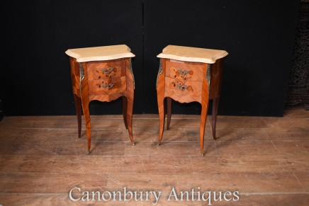 Pair French Empire Bedside Cabinets - Inlay Nightstands