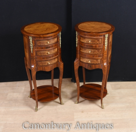 Pair French Empire Bedside Cabinets Chests Nightstands