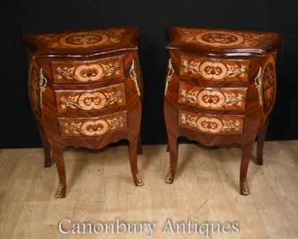 Pair French Empire Bombe Commodes Bedside Chests