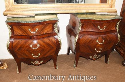 Pair French Empire Bombe Commodes Kingwood Chests of Drawers