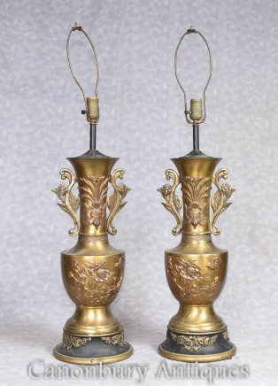 Pair French Empire Brass Table Lamps Lights