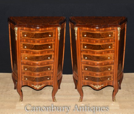 Pair French Chests - Empire Commodes Drawers Tall Boys