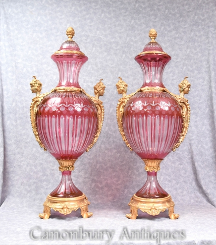 Pair French Empire Cut Glass Ormolu Vases Urns