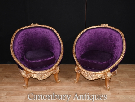 Pair French Tub Seats  Empire Gilt Arm Chairs