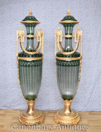 Pair French Empire Glass Amphora Urns Ormolu Mounts Vases