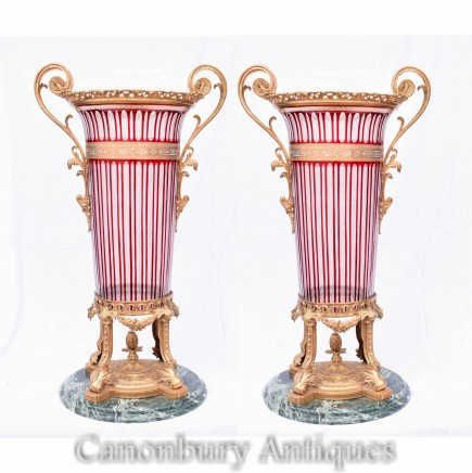 Pair French Empire Glass Vases - Rococo Crystal Cut  Planters Urns