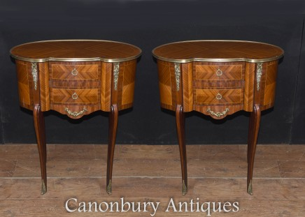 Pair French Empire Kidney Bean Chests of Drawers Nightstand Bedsides