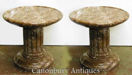 Pair French Empire Low Marble Pedestal Stands Column Supports