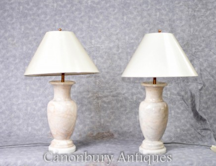 Pair French Empire Marble Table Lamps Lights with Shades